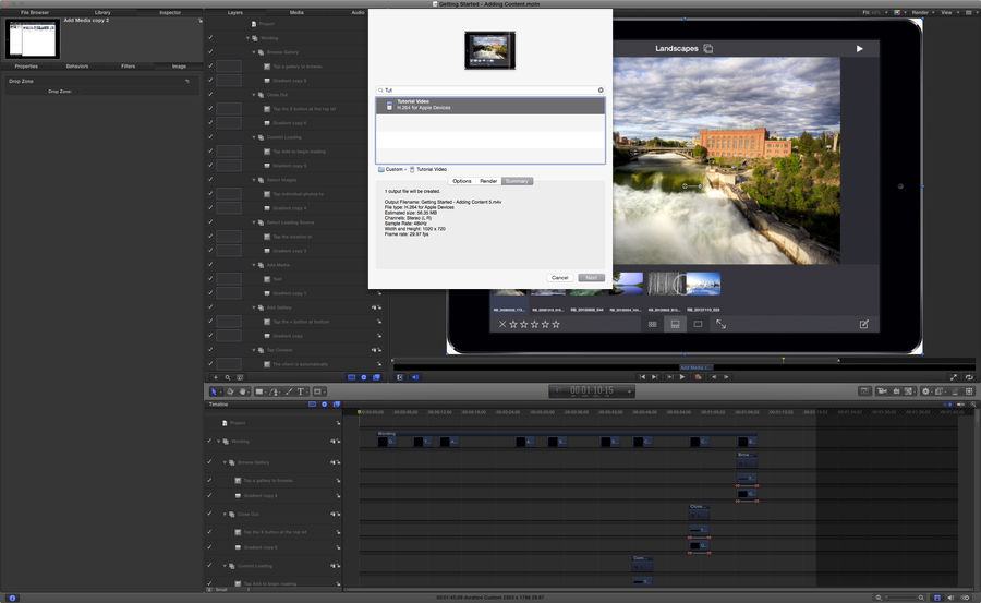 Screenshot of exporting in Motion