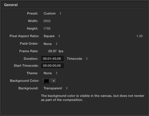 Screenshot of Motion project settings