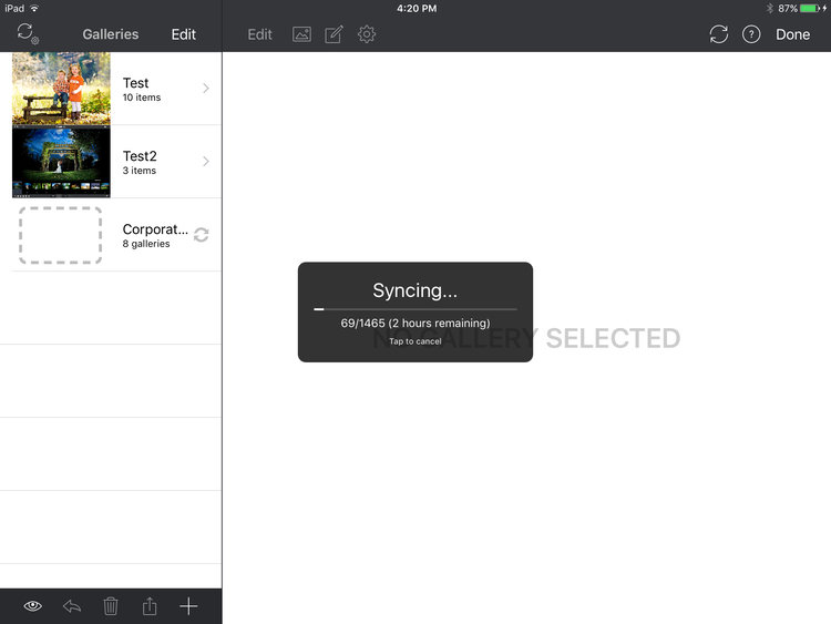 Screenshot of the new sync progress panel