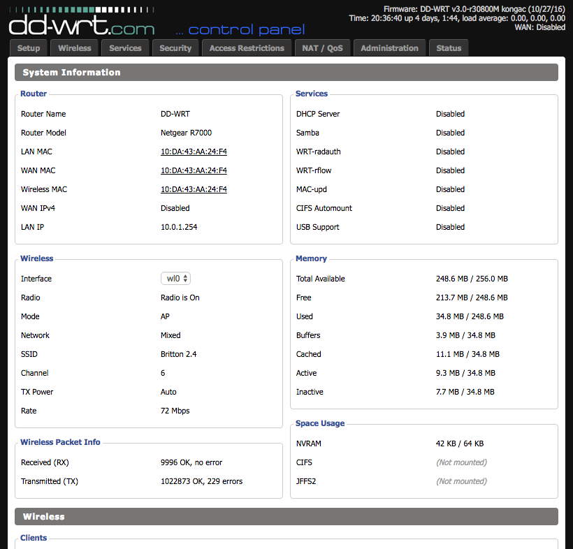 Screenshot of DD-WRT web interface