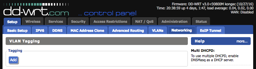 Screenshot of the VLAN configuration areas in DD-WRT