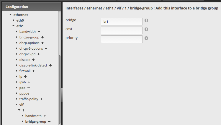 Screenshot of bridge group assignment for a virtual interface