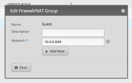 Screenshot of firewall network group