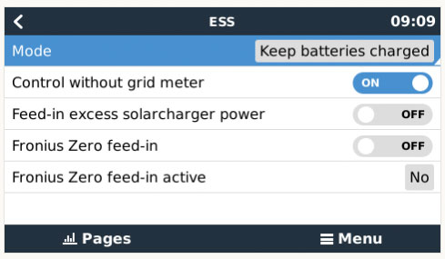 Screenshot of ESS configuration