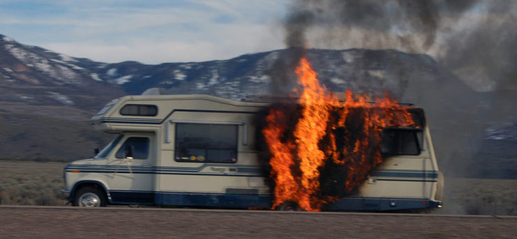 Photo of an RV fridge fire