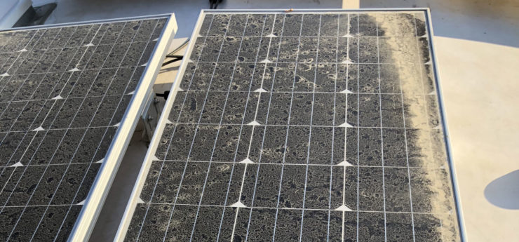 Photo of dirty solar panel