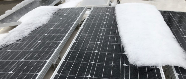 Photo of snowy solar panel