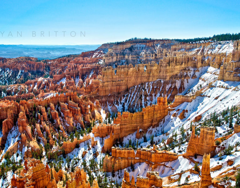 Bryce - Photo of Bryce Canyon covered in snow during the winter