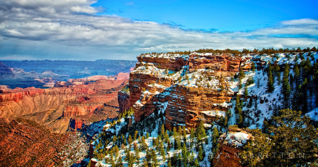 Grand Canyon - Photo of the south rim of the Grand Canyon covered in snow during the winter