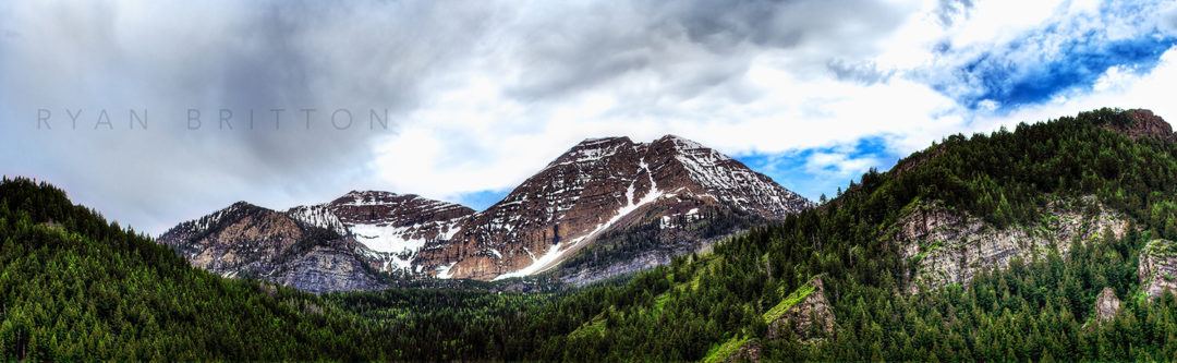 Mt Timpanogos - Photo of Mt Timpanogos traced in snow during late Spring