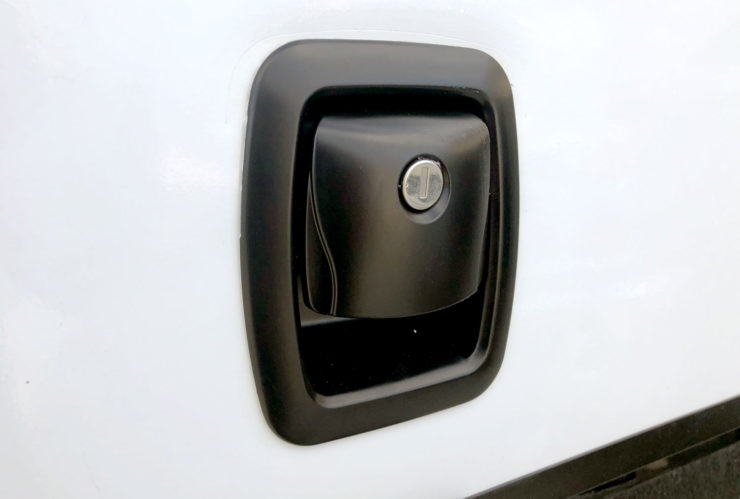 Photo of the replacement cargo door lock installed