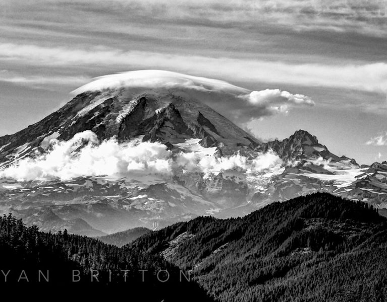 Tahoma - Black and white photo of Mt Rainier with a lenticular cloud covering the top