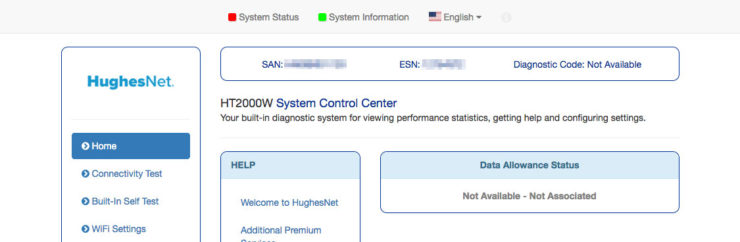 Screenshot of HughesNet modem satellite status screen