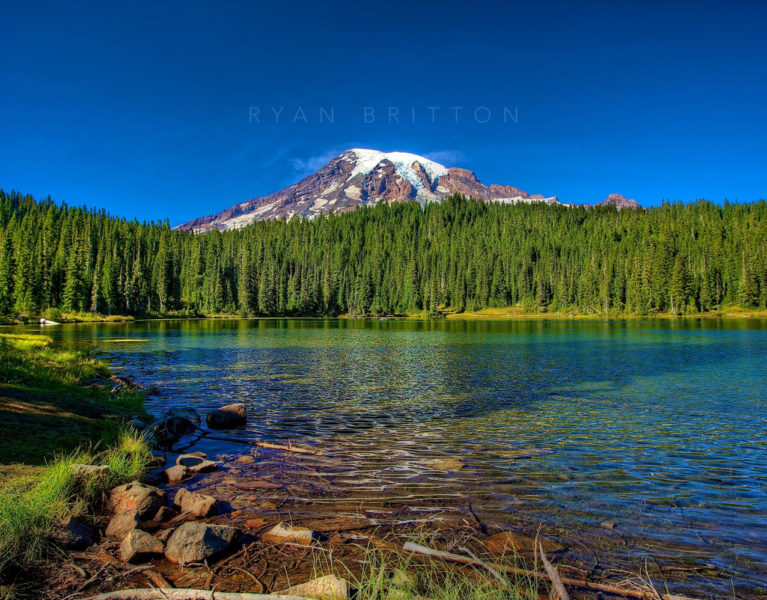 Reflection Lake - Photo of Reflection Lake with Mt Rainier in the background